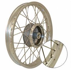 Speichenrad 1,5x16 Zoll - Alufelge poliert mit Edelstahlspeichen - Simson