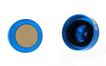 Benzinfilter - Alu blau eloxiert - 6mm Schlauchanschluss - auswaschbar