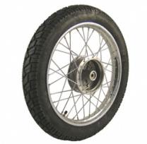 Komplettrad VORNE 1,5x16 Zoll Stahl verchromt mit Reifen VeeRubber 094 - Simson