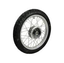 Komplettrad VORNE 1,5x16 Zoll Alufelge mit Edelstahlspeichen mit Reifen Heidenau K55 - Simson