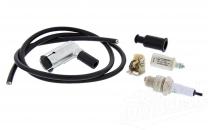 Set Zündung Simson,  Kabel schwarz + Zündkerze BERU Isolator 260, Kerzenstecker BERU, Kondensator +