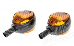 Set Blinker Carbonlook & oranges Glas für Simson Schwalbe KR51/1 & KR51/2, Star SR4-2, Sperber SR4-3 & Habicht SR4-4