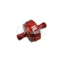 FILU Benzinfilter - Alu rot eloxiert für Benzinschlauch 7x10,5mm