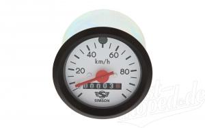 Tacho mit weißem Ziffernblatt und Blinkkontrolle - bis 100 km/h - S51, S53