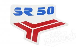 Aufkleber / Klebefolie für Beinblech - rot/blau - SR50