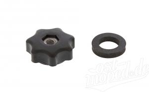 Set Sterngriffmutter (Mutter sichtbar)  M6 - schwarz - für Motorabdeckung, Haube oder Seitenbleche