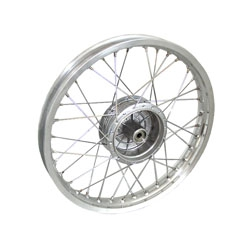 Speichenrad 1,6x16 Zoll Alufelge poliert mit Edelstahlspeichen - breite Ausführung - Simson