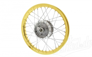 Speichenrad 1,5x16 Zoll - Alufelge Gold mit Chromspeichen - Simson