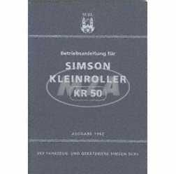 """""""Betriebsanleitung Simson """"""""""""""""KR50"""""""""""""""" Ausgabe 1962 (14. verbesserte Auflage mit 39 Bildern)"""""""