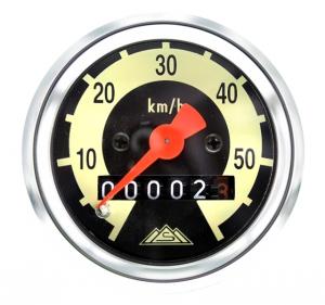 Tacho mit Chromring - bis 60 km/h - gewölbtes Tachoglas - SR2E, KR50, SR4-1
