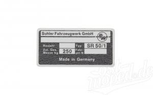 Typenschild für Simson Roller SR50/1