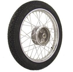 Komplettrad 1,5x16 Zoll Stahl verchromt mit Reifen Heidenau K36/1 - mit Original Simson Radnabe