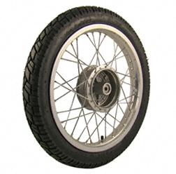 Komplettrad VORNE 1,6x16 Zoll Alufelge mit Chromspeichen mit Reifen VeeRubber 094 - Simson