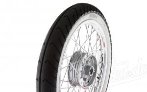 Komplettrad hinten 1,5x16 Zoll Alufelge mit Edelstahlspeichen und Weißwandreifen