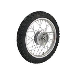 Komplettrad HINTEN 1,5x16 Zoll Alufelge mit Chromspeichen mit Reifen Heidenau K42 - Simson