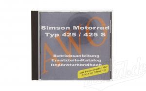 CD, SIMSON Motorrad pass. für AWO 425/425S ORIGINALDOKUMENTE (Reparaturhandbuch, Ersatzteilkataloge,