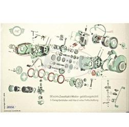 Explosionsdarstellung Farbposter (72x50cm) 50ccm-Zweitakt-Motor gebläsegekühlt