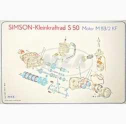 Explosionsdarstellung Farbposter (72x50cm) S50 Motor M53/2KF (beidseitig Glanzcello, schmutzabweisen
