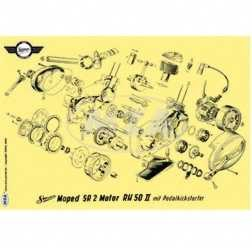 Explosionsdarstellung Farbposter (72x50cm) Motor RH50II SR2 mit Pedalkickstarter (beidseitig Glanzce