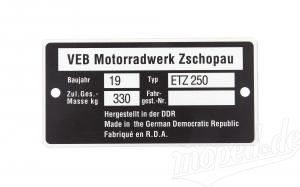 Typenschild ETZ 250