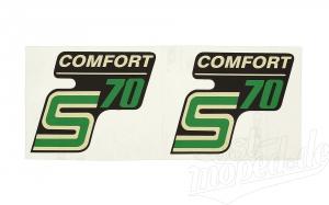 Aufkleber Satz für Seitendedeckel Simson S70 Comfort