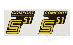 Aufkleber Satz für Seitendeckel Simson S51 Comfort