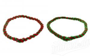 Nabenputzringe WÜMA rot/hellgrün SET (vorne & hinten) für SIMSON-Nabe 168mm, 560mm lang.