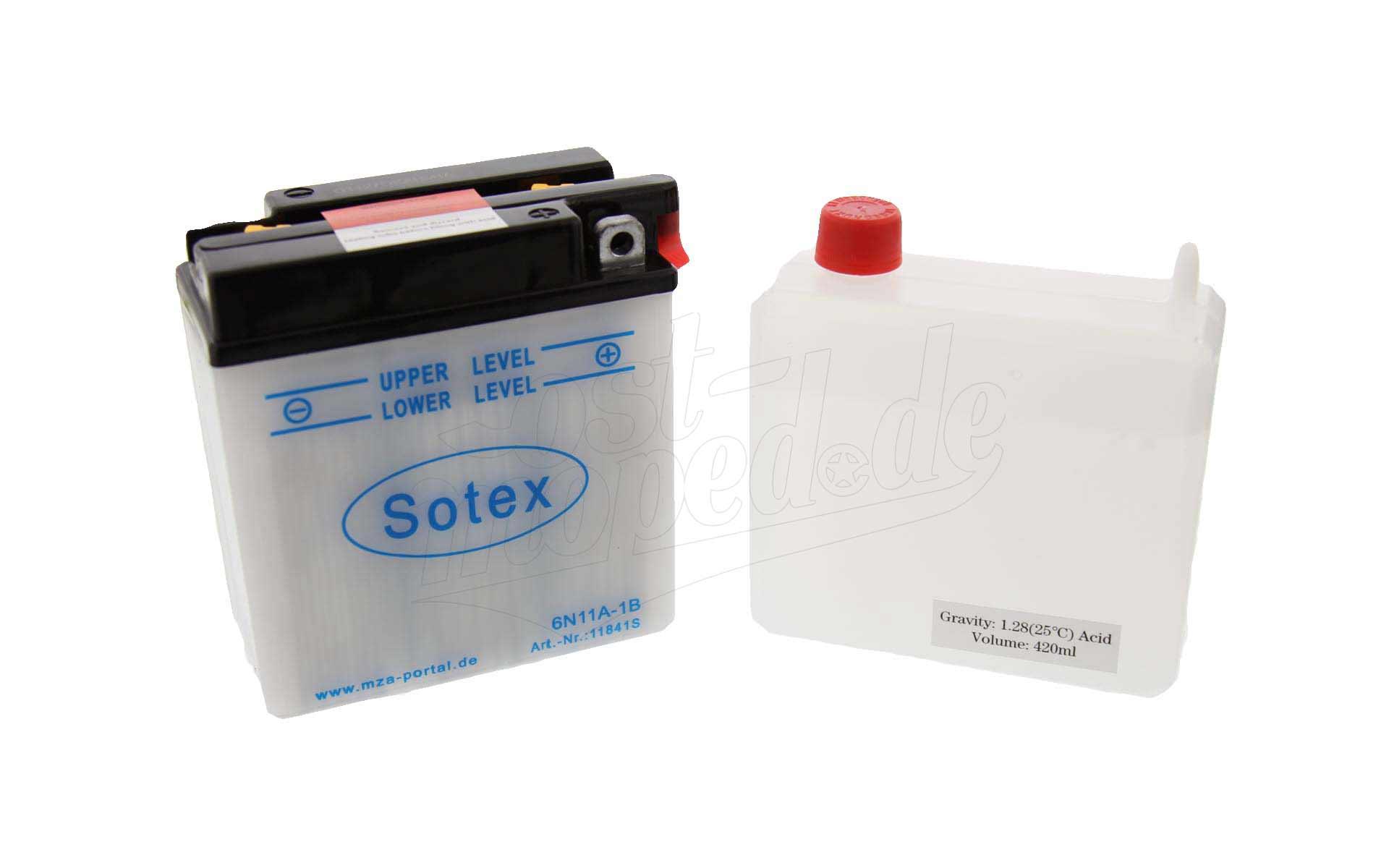 Batterie 6V 11Ah - S50, S51, S70, SR50, MZ ES, TS, ETS - mit Säurepack