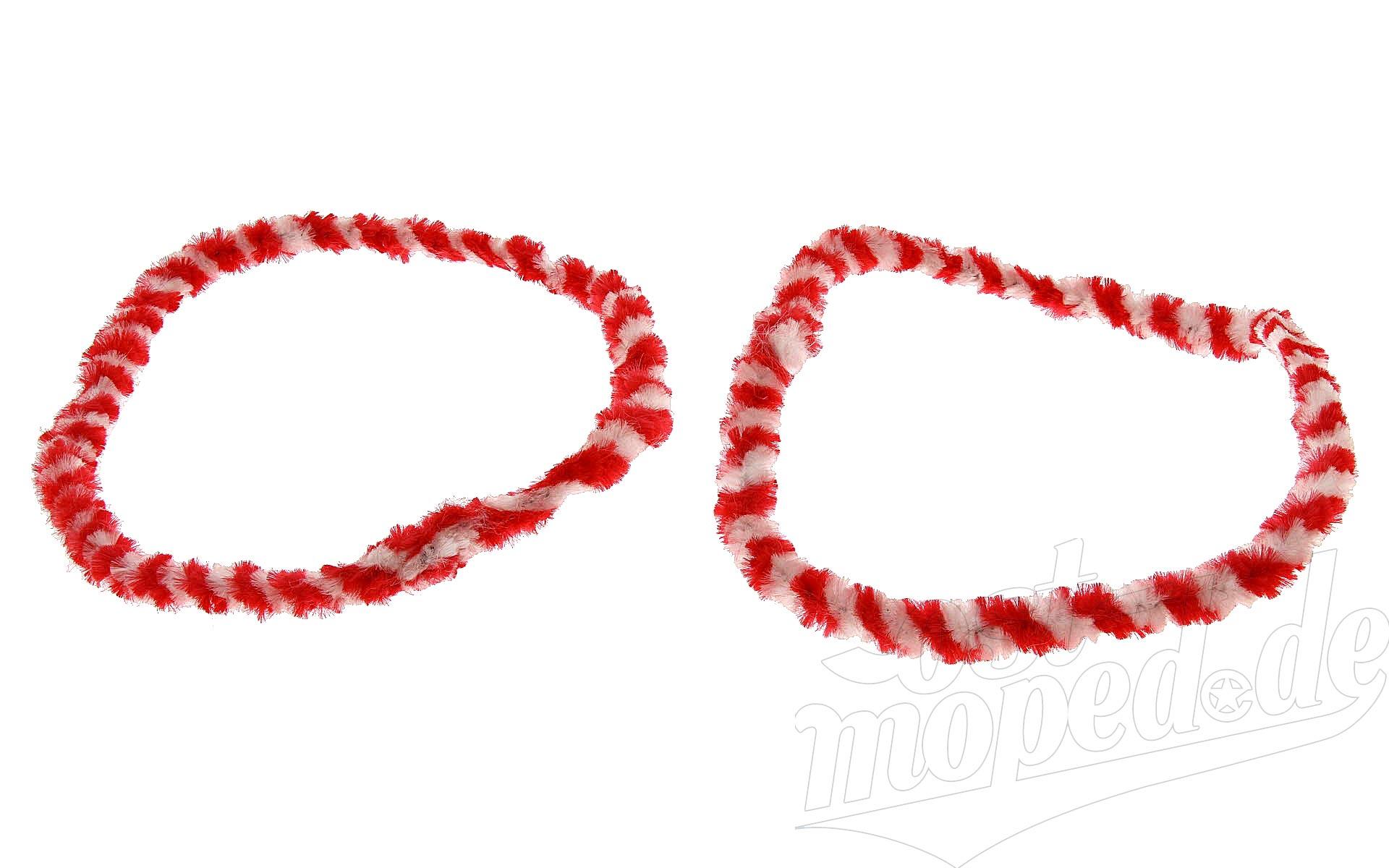 Nabenputzringe WÜMA rot/weiß SET (vorne & hinten) für SIMSON-Nabe 168mm, 560mm lg.